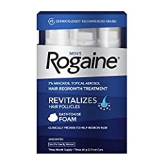 3-month supply of Men's Rogaine 5% Minoxidil Foam hair growth treatment to help treat hair loss, maintain hair density and allow for the regrowth of fuller hair Formulated with 5% Minoxidil, our fast-working hair regrowth treatment works to boost hai...