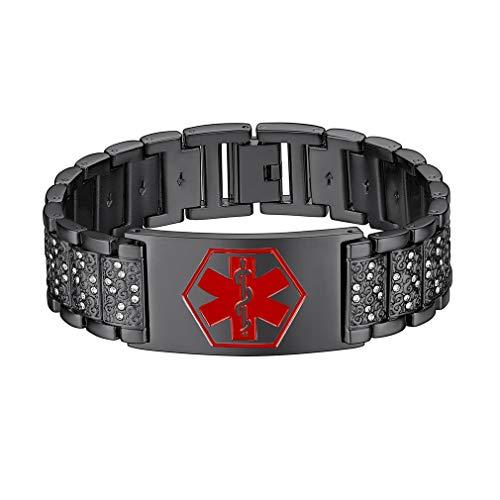 Supcare Medizinische Erste Hilfe Edelstahl Alert ID Uhrband,Medical Alert Bewusstsein ID Armband,Personalisierte Gravierbare Medical Alert Bewusstsein ID Armband für Herren/Damen