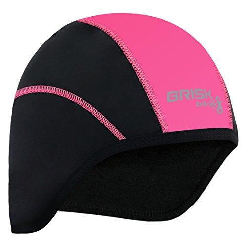 Brisk Cycling Skull Cap Under Helmet Thermal Tight Fit Warm regular size (Black/Pink)