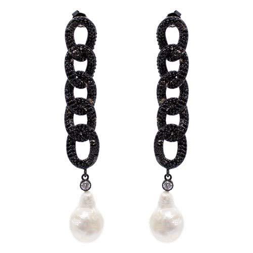 Pendientes Pearls largos con eslabones entrelazados de plata de ley 0925 con pavé de circonitas negras, circonitas blancas y perlas barrocas.