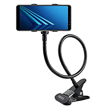 Agoz Cell Phone Clip Holder Gooseneck Clamp Lazy Mount Flexible Bracket Mobile Stand for Bed Office Kitchen Apple iPhone 12 XS Max,11 XR,X,8 Plus,7 Samsung Galaxy S21 S20 S10 Note 9 8 S9 S8  Black