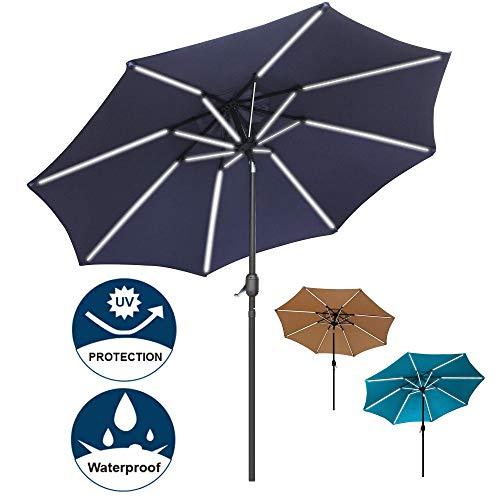Sfozstra 9 ft Solar Powered LED Lighted Umbrella Patio Umbrella Table Market Umbrella with Push-Button Tilt & Crank, Outdoor Market Umbrella Garden Umbrella, 16 LED Tubes (Navy Blue)