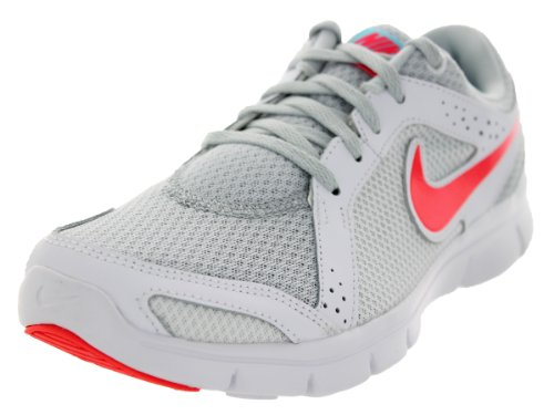 Nike Women's Flex Experience Run 2 Pure Platinum/White/Polarized Blue/Laser Crimson 6 B - Medium