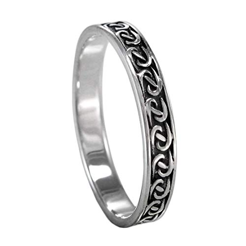 Narrow Braided Silver Celtic Motif Band Ring for Men or Women (available 4-15) sz 11