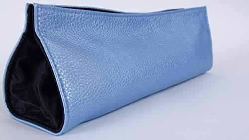 GHD Tasche | hitzebeständige Styler-Tasche | mit Magnetknopf | sicherer Reise-Partner | Haarglätter Tragetasche | L 36 cm x H 15 cm | GHD Leder Tasche Blau