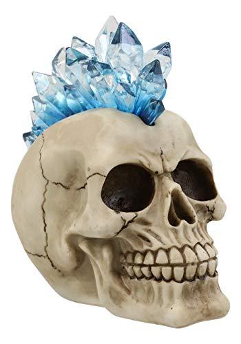 Ebros Colorful LED Light Mohawk Crystal Hair Cranium Skull Figurine As Halloween Ossuary Macabre Decor Night Light Collectible of Skulls Skeletons