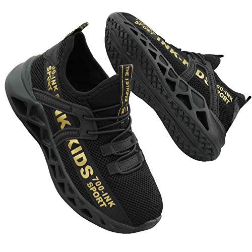 Basket Garçons Chaussures de Course Outdoor Sneakers Sport Running Athlétiques Shoes Tennis Gym Enfant Fitness Sneakers Garçons, Noir Or, 32 EU