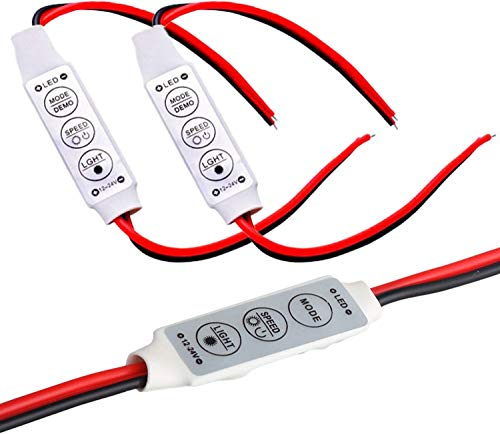 オーディオファン LEDテープ コントローラ 12~24V 調光器 シングル カラーライトローラー明るさ調光器 3点セット