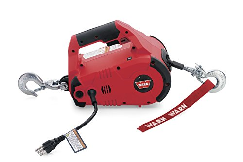 WARN 885000 PullzAll Corded 120V AC Portable Electric Winch with Steel Cable: 1/2 Ton (1,000 Lb) Pulling Capacity , Red
