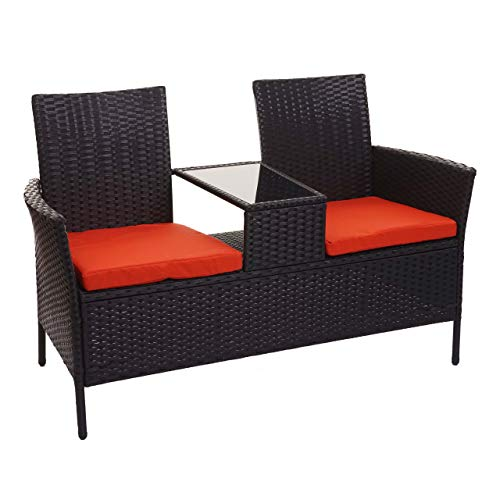 Mendler Poly-Rattan Sitzbank mit Tisch HWC-E24, Gartenbank Sitzgruppe Gartensofa, 132cm - schwarz, Kissen terrakotta