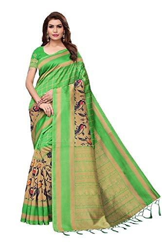 Indian bollywood wedding saree indisch Ethnic hochzeit sari new kleid damen casual tuch birthday crop top mädchen cotton silk women plain traditional party wear readymade Kostüm (Green 3)
