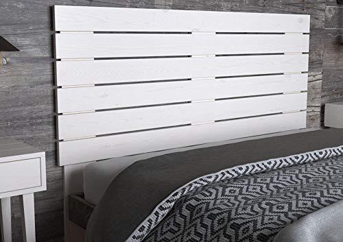 LA WEB DEL COLCHON - Cabecero de Madera Rústico Campagne para Cama de 135 (145 x 120 cms) Blanco nórdico