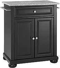 Crosley Furniture Alexandria Cuisine Kitchen Island with Solid Grey Granite Top - Black