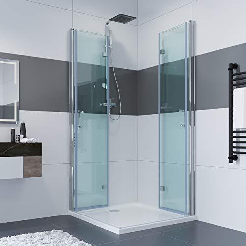 IMPTS 90 x 90 x 195 CM Duschkabine Eckeinstieg Doppel Falttüren Duschtüren 180º Eckig Dusche Duschwand Duschabtrennung mit NANO Beschichtung