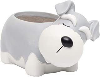 Blesiya Cartoon Dog Animal Succulent Cactus Plant Pot, Resin Flower Pot Container Planter, Perfect for Home Decoration - Schnauzer
