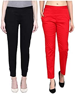 ALIYAA Stylist Very Comfort Cotton Lycra Casual WEAR STRACHEBLE Pencil Pant for Women's & Girl's(Pack of 2)