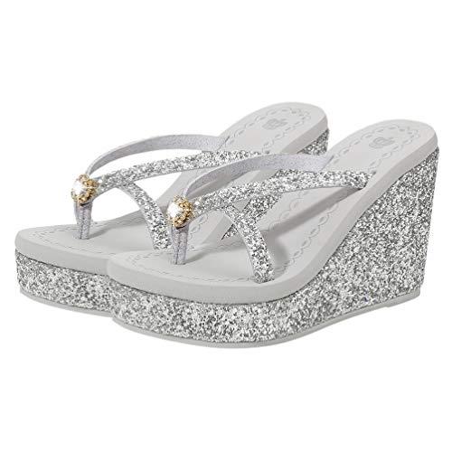 Happyyami 1 Paar Flip Flops Keilsandalen Diamant Hochhackige Hausschuhe Strand Freizeitschuhe für Mädchen Frauen (Silber 7. 5Us 5Uk 38. 5Eu 9. 6285Inch)