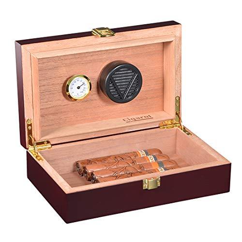 Volenx caja de puros con higrómetro y humidificador portátil de viaj