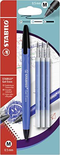 Radierbarer Gel-Roller - STABILO Gel Exxx - blau - inklusive 3er Refill