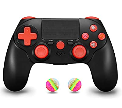 Wireless Controller for PS4, Gamepad Remote for Sony Playstation 4 PS4/ Pro/Slim/DualShock 4/ PC, Including Charging Cable and 2 Thumb Caps