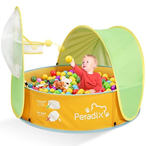 Peradix Tienda de Playa para Bebés Portátiles, Piscina de Bolas Bebe de Campaña para bebés con Techo Pop-up Piscina Bebe Desmontable de Vacaciones en la Playa al Aire Libre Interior y Exterior