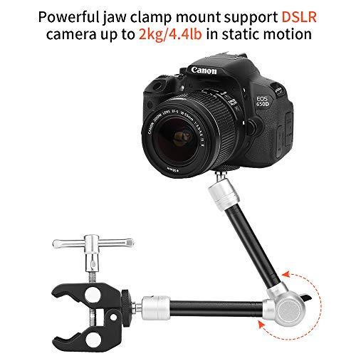CLOUDSFOTO 11inch Adjustable Articulating Friction Magic Arm & Large Super Clamp Compatible with DSLR Camera Rig, LED Lights, Flash Light, LCD Monitor