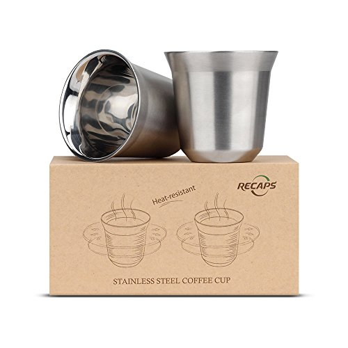 80ml Stainless Steel Espresso Cups Set - 2 Pack Double Wall 304 Stainless Steel Demitasse Cups 2.7oz By RECAPS