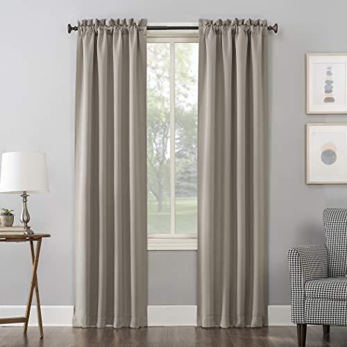 "Sun Zero Easton Blackout Rod Pocket Curtain Panel, 40"" x 84"", Stone"