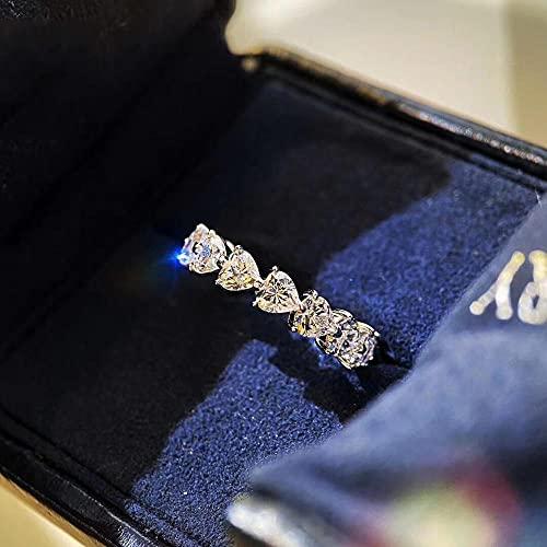 YANGYUE Anillo de Diamante de Laboratorio de Corte de corazón de eternidad 925 Anillos de Compromiso de Plata esterlina para Mujeres y Hombres joyería de Fiesta con Encanto