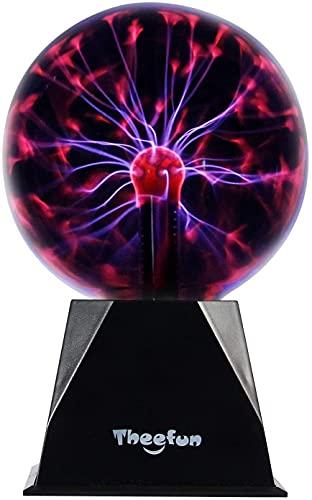 Luz de Bola de Plasma, Bola de Luz Esférica Mágica de 5' Lámpara de Rayos Iónicos Sensible al Tacto, Bola de Plasma de Control por Voz