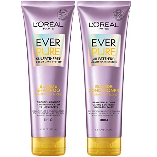 L'Oreal Paris Hair Care EverPure Blonde Sulfate Free Shampoo and Conditioner Kit for Color-Treated Hair, Neutralizes Brass + Balances, For Blonde Hair, Combo (8.5 Fl; Oz each) (Packaging May Vary)