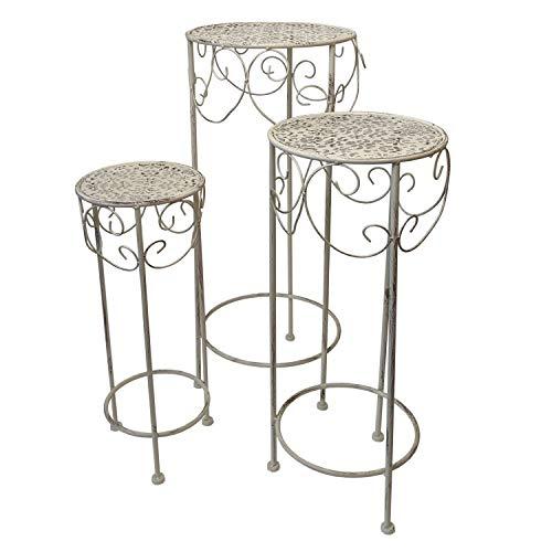 3tlg Beistelltisch Blumentisch-Set H70/60/50cm, rund, Metall, Creme, Vintage-Look - Blumenhocker Blumenständer Pflanzenständer
