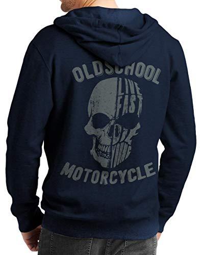 Rebel on Wheels Herren Zip Hoodie Sweat-Jacke mit Kapuze Kapuzen-Jacke Winter mit Motiv Bedruckt Totenkopf Skull Biker Motorrad Oldschool Skull Blau 2XL