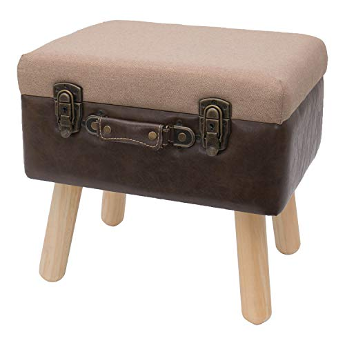 HMF Vintage Sitzhocker mit Stauraum aus Holz | 40 x 32 x 39 cm | Braun | Klassik