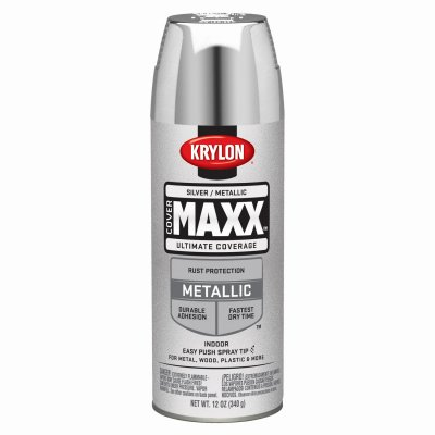 Krylon 9196 COVERMAXX Spray Paint, Metallic Silver, 12 Ounce