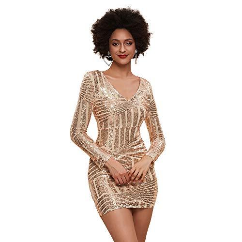 Women's V Neck Long Sleeve Sequined Cocktail Mini Dress (Gold)