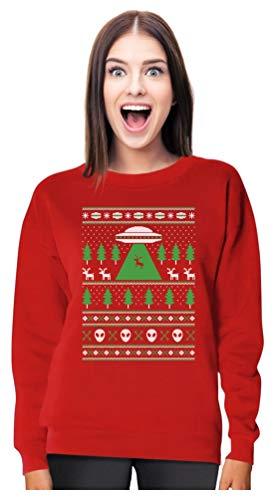 UFO Alien Reindeer Abduction Ugly Christmas Sweater Women Sweatshirt Large Red