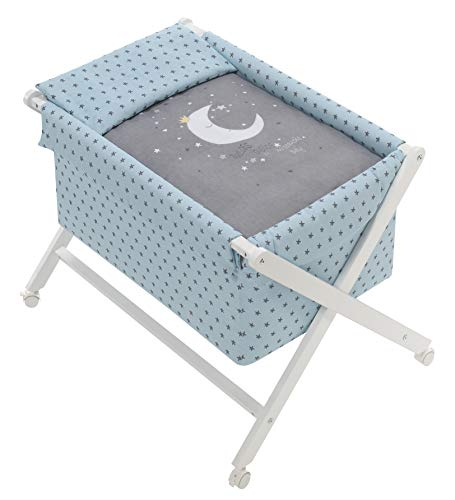 Minicuna Tijera madera Luna Universo Menta, incluye Textil exterior + Colchón + Colcha + Almohada