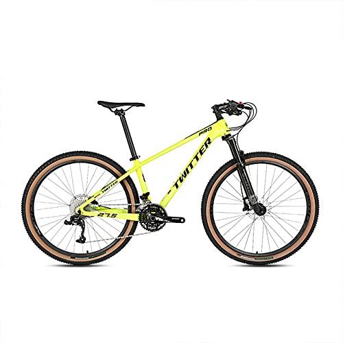 Bicicleta De Montaña, 30 Velocidades Bicicleta De Montaña Fibra Carbono, Neumáticos 2.25 Extra Anchos, Bicicleta MTB Completa Cola Dura 27.5/29''para Adultos Yellow-29x17inch