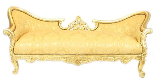 Barock Sofa Garnitur Vampire Gold Blumen Muster/Gold - Antik Design Möbel Couch Wohnzimmer