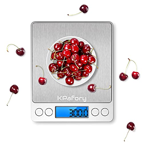 KPafory Bilancia da Cucina,Bilancia Digitale di Precisione 0.1g con 2 Vassoi,Bilancino Adatto ad Amanti della Cucina e Fitness