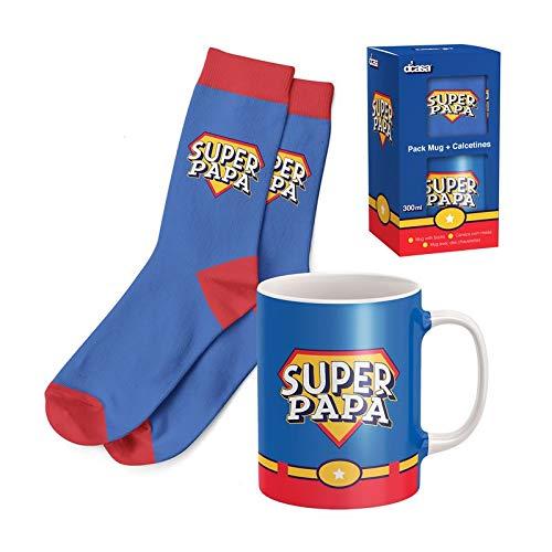EURASIA - Pack de Regalo Dia del Padre - Taza de Desayuno + Calcetines Originales - Ideal Para Sorprender a tus Seres Queridos (Dia del Padre)