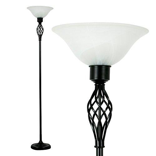 Lámpara de pie de estilo tradicional, color negro satinado con sombra de alabastro esmerilado