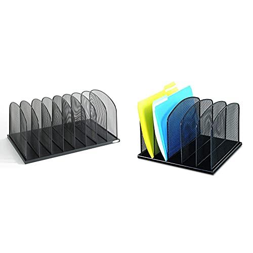 Safco Products Onyx Mesh 8 Sort Vertical Desktop Organizer 3253BL & Onyx Mesh 5 Sort Vertical Desktop Organizer 3256BL, Black Powder Coat Finish, Durable Steel Mesh Construction