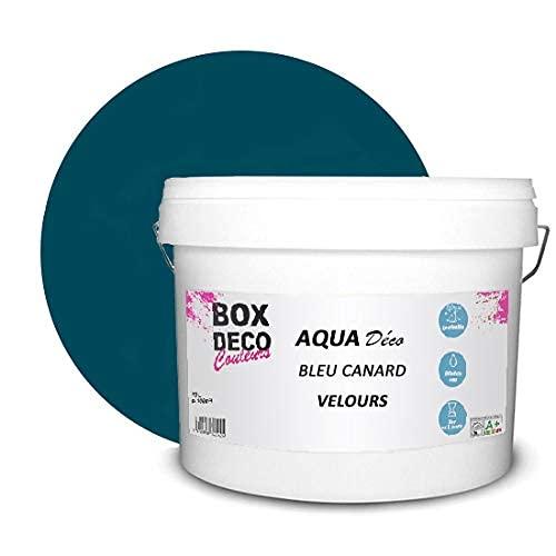 Peinture acrylique aspect mat Aqua déco - Murale - 44 couleurs - 10 L - 100 m² (Bleu Canard)