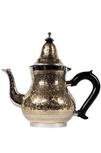 Marrakesch Orient & Mediterran Interior Marokkanische Teekanne aus Messing 1400ml mit Sieb und Kunststoffgriff | Orientalische Kanne BAHA 1400ml Silber Goldfarbig mit Deckel | Verschiedene Grössen