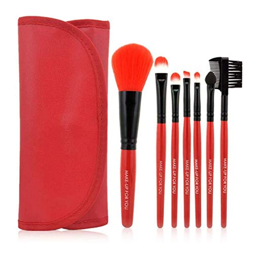 Brosse de maquillage Set 7pcs base professionnelle de maquillage de pinceaux de maquillage définissent des outils de kit Cosmétiques Set Brosses (Color : Red)