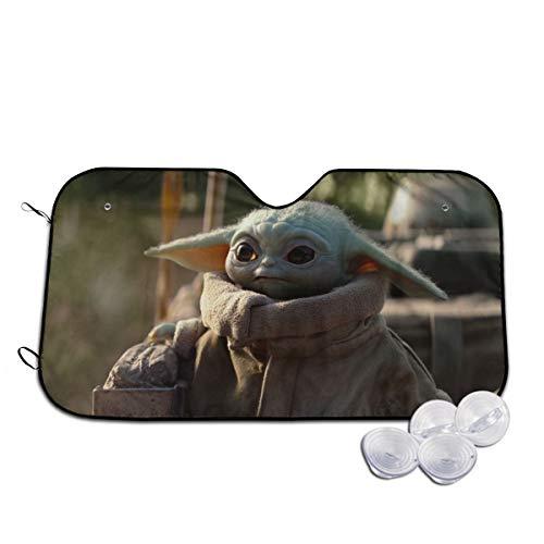 Heavenly Battle Star Wars Master Yoda Baby Windshield Sun Shades Blocks UV Rays Sun Foldable Visor, Car Universal Car Sunshades Shield Cover Protector with 4 Suction Cups 30x55 Inch