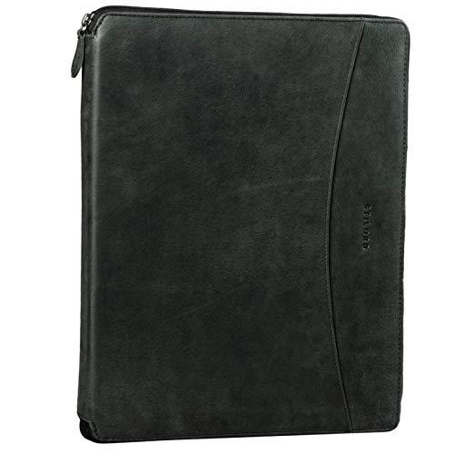 STILORD 'Dexter' Portadocumentos Cuero Bolsa Portátil 13,3' para MacBook Portafolios o Maletín Carpeta Conferencia Trabajo o Negocios Piel Auténtico, Color:Antracita