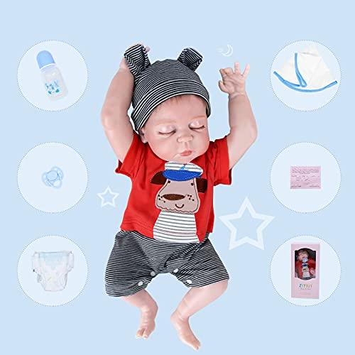 ZIYIUI Bebe Reborn Niño Ojos Cerrados Muñecos Reborn Cuerpo Entero Silicona Reales Niño Regalo Recien Nacido Juguetes 50 CM (50cm)